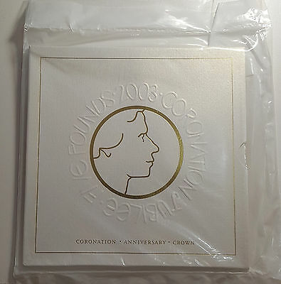 2003 UK Golden Jubilee of Coronation Crown 5 Pounds BU Coin in Royal Mint Pack