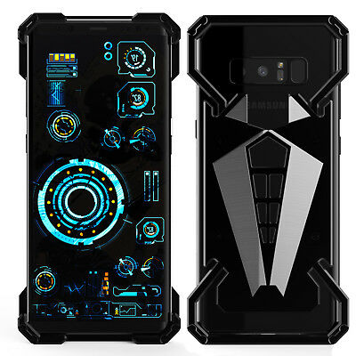Black Armor Aluminum Metal Shockproof Heavy Back Case Cover for Samsung Note 8