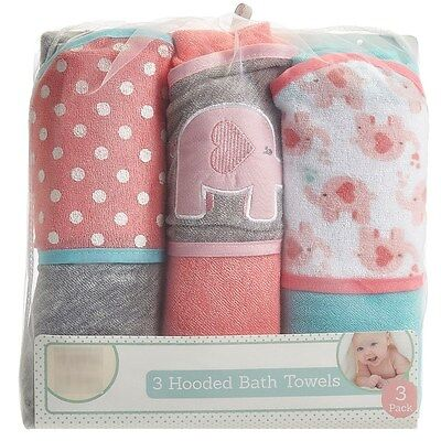 NEW Baby Kiss Girl 3 Pack Pink Elephant Heart Hooded Cotton Bath Towel Set 27x30