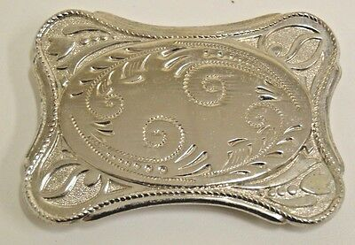 Vintage Classic 1970s Western Cowboy Rodeo Ranch Chrome Aged Belt Buckle