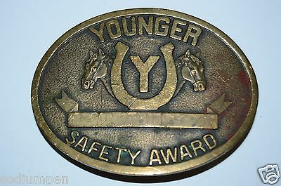 Vintage YOUNGER Safety Award Horse Head Ranch Engrave-able Belt Buckle Rare