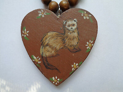 Hand made wood ferret necklace and pin