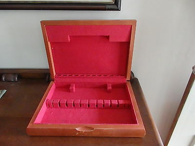 Red Lined Timber Cutlery Box