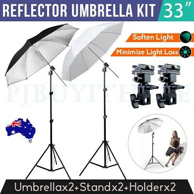 Photography Studio Speedlite Flash Umbrella Lighting Light Stand+2 Bracket B Kit