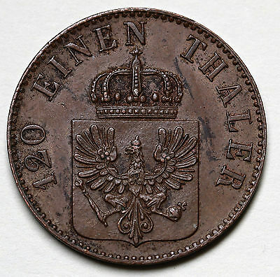 1848 D German States PRUSSIA 3 Pfennig KM# 453 Copper Coin RARE
