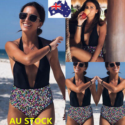 AU Women One Piece Bikini Monokini Push Up Unpadded  Swimsuit Swimwear Beachwear