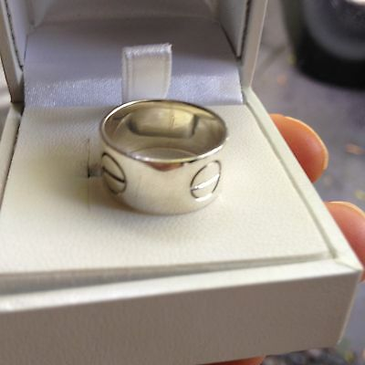 """925 Sterling Silver Handmade Wide Love Screw ring """"Cartier Design"""" Size 8"""