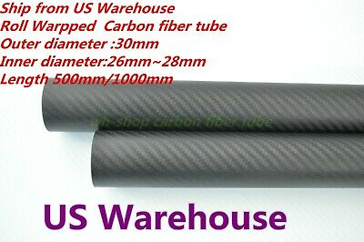 30mm OD X 26mm ID X 1000MM Carbon Fiber Tube 3K/Tubing Suit for RC Plane 30*26-H