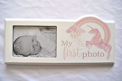 "Baby ""My First Photo"" White Unicorn Baby Photo Frame/Plaque  - Freestanding"