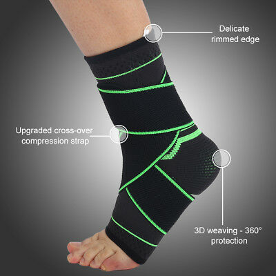 Protective Ankle Sleeve Support Brace with Adjustable Wraps Elastic Bandage WD