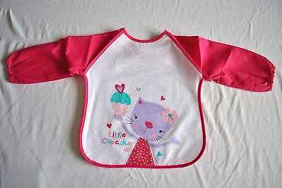 "Rock-a-bye Baby's Long Sleeve Mealtime Coverall Bib "" Little Cupcake in Pink"""