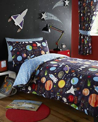 Planets Solar System Outer Space Rockets Duvet Cover Kids Bedroom Single Double