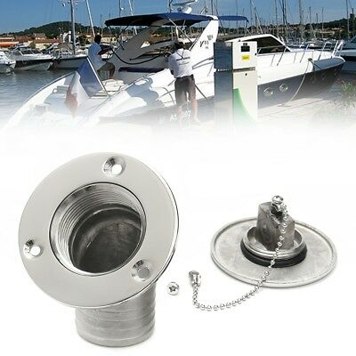 316 Stainless Steel 1-1/2'' Boat Fuel Deck Filler Keyless Cap Marine Angled Fill