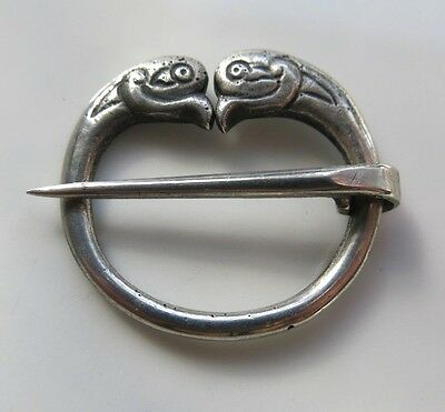 CELTIC Sterling SILVER PENNANULAR BROOCH Bird Heads ALEXANDER RICHIE - IONA 1934