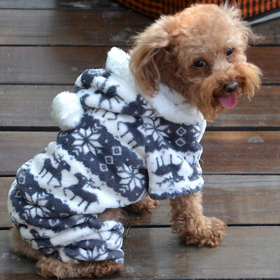 Warm Winter Soft Hoodie Jumpsuit Coat Clothes Costume Apparel For Pet Dog Puppy