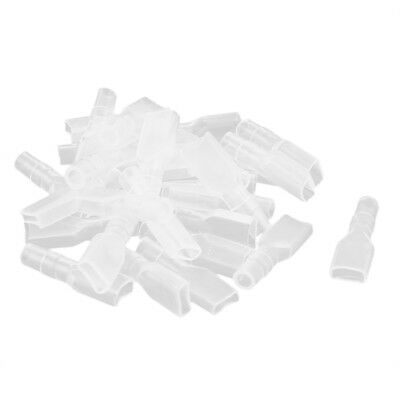 30pcs 4.8mm Female Spade Connector Terminal PVC Insulation Sleeve Clear V4I8
