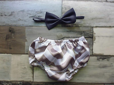 Boys Grey Chevron Satin Nappy Cover Bloomer and Grey  Bow Tie...0-6 months