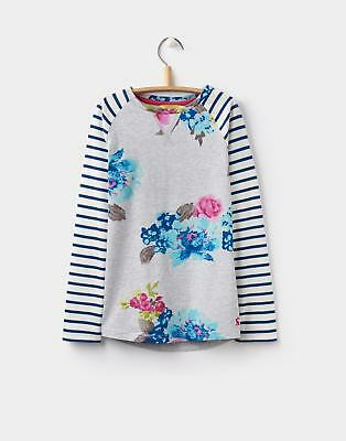 Joules 124406 Girls Mishmash Raglan Sleeve Jersey Top in Cotton in Grey Floral
