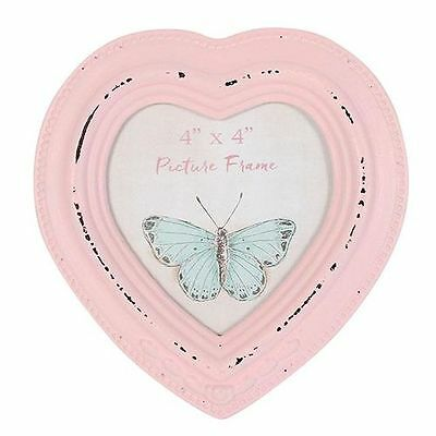 "Antique Style Baby Pink Heart Shape Freestanding Vintage Photo Frame - 4"" x 4"""