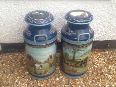 Painted milk churns (two)