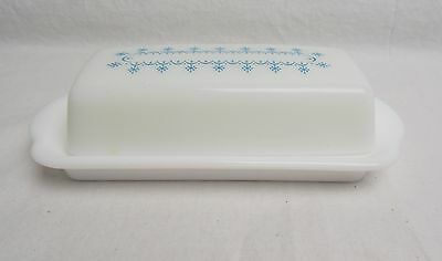 Vintage Milk Glass Butter Dish with Pyrex Blue Snowflake Garland Top #4256