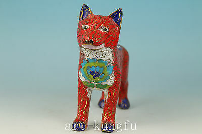 Super Chinese Cloisonne Handmade Carved Red Dog Statue Figure