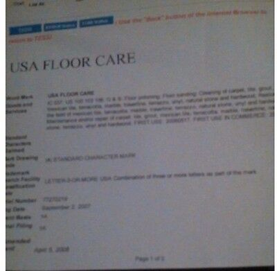 Registered trademark - business for sale - USA Floor Care - Bid for deposit only