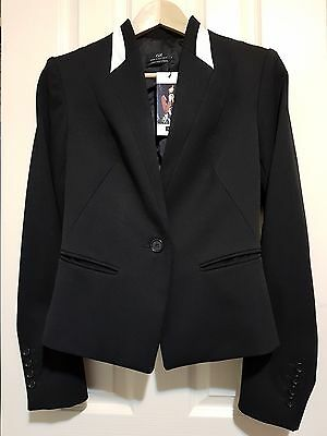 Size 8 - CUE Black Blazer with White Contrast - BRAND NEW WITH TAGS