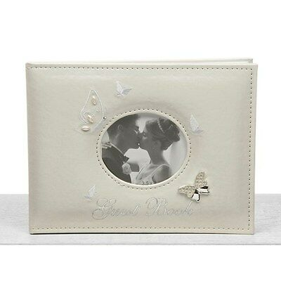 Wedding Guest Book Cream Suede Butterfly White