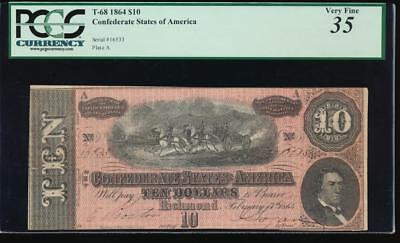 AC T-68 $10 1864 Confederate Currency CSA PCGS 35 comment