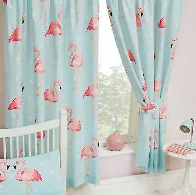 "FIFI FLAMINGO DOTS CURTAINS 66"" x 54"" KIDS FULLY LINED WITH TIE BACKS"