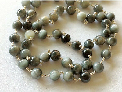 1 Foot, Cats Eye Plain Round Beads 925 Silver Wire Wrapped Rosary Beaded Chain