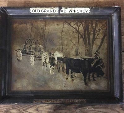 Antique Old Grand Dad Whiskey Advertising Metal Sign Direct From The Hills Of Ky