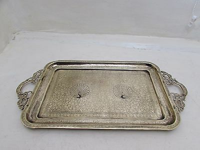 Antique Indian Twin Handled Brass Tray Engraved Peacock & Vine Decoration