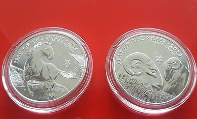 2014 & 2015 Great Britain Lunar Year of the Horse & Sheep - 1 oz Silver Coins