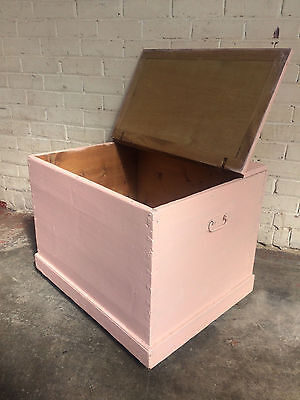 Large Antique Pine Painted Blanket Box Ottomon Chest Trunk Shabby Chic Project