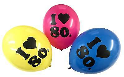 """I Love 80s 12"""" Balloons - Party Decorations Multicoloured Pink 80's Neon Disco"""