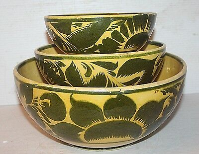Set 3 Antique Yellow Ware Clay Pottery Hand Painted Bowls W/ Green Design