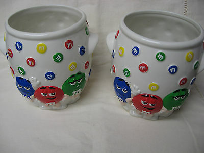 M&M's White Ceramic Utensil jar canister Holder W/ Red Green & Blue Characters