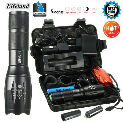90000LM T6 LED Tactical Flashlight Torch Lamp+18650+Charger+Taillight+Mount+Box