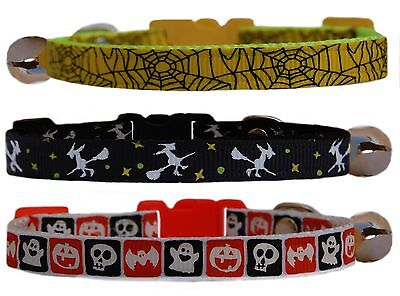 yellow , black white  HALLOWEEN SPIDERS WEB  safety kitten cat collar bell
