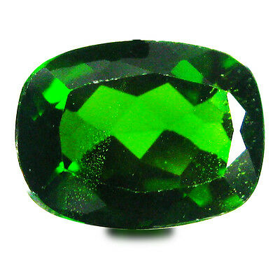 1.38 ct AAA+ Magnificent Cushion Shape (8 x 6 mm) Green Chrome Diopside Gemstone