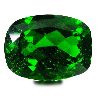 1.72 ct AAA+ Significant Cushion Shape (8 x 6 mm) Green Chrome Diopside Gemstone