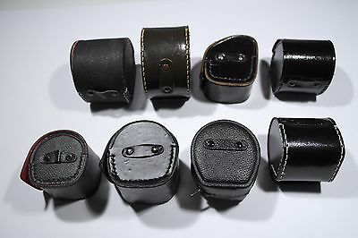 Soligor Beroflex Kenko leather photo lens bag lens pouch cuero objektiv LOT 7x