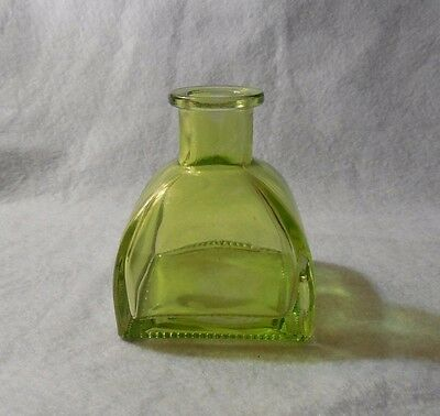 Antique Green Yellow Glass Ink  Bottle