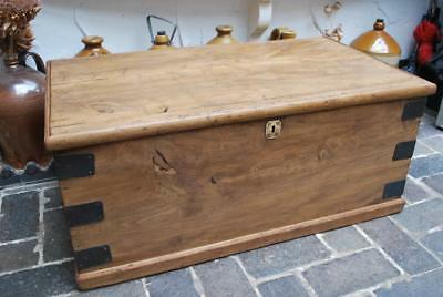 Original quality Victorian elm & Pine box chest trunk coffee table