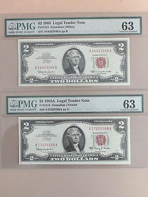 2 1963 $2 Dollar United States Notes * PMG Graded Choice Unc 63 *
