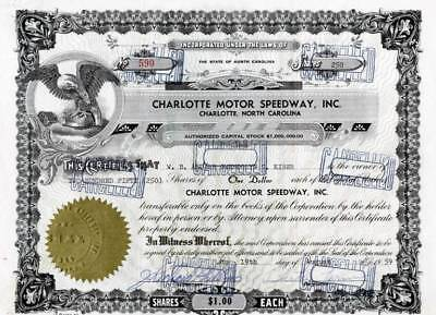 Charlotte Motor Speedway, Inc. hand signed by NASCAR Legend, Curtis Turner- 1959