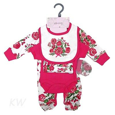 Baby Girls Outfit 5 Piece Roses Layette Clothing Gift Set  by Chloe Louise AW'17