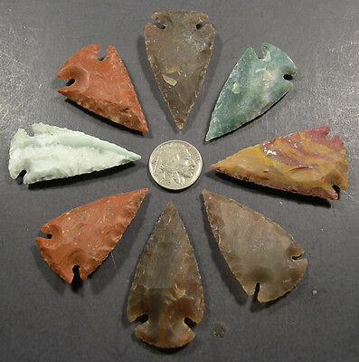 8 Handknapped 2 inch Agate Arrowheads plus a Buffalo nickel